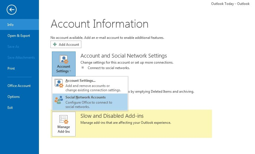 Outlook 2013 Social Connector Options