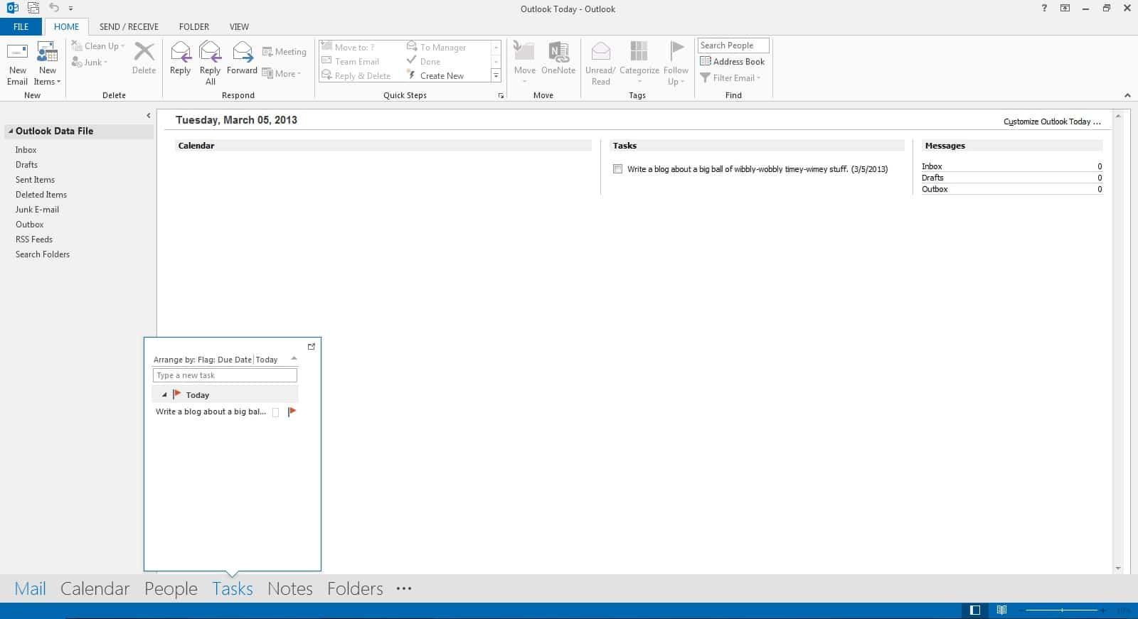 Outlook 2013 Navigation Bar