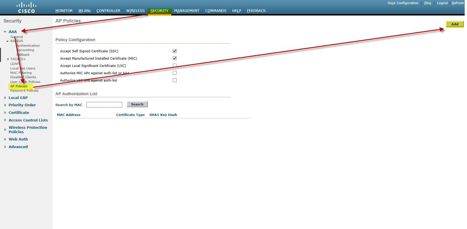 Cisco Wireless LAN Controller Security tab