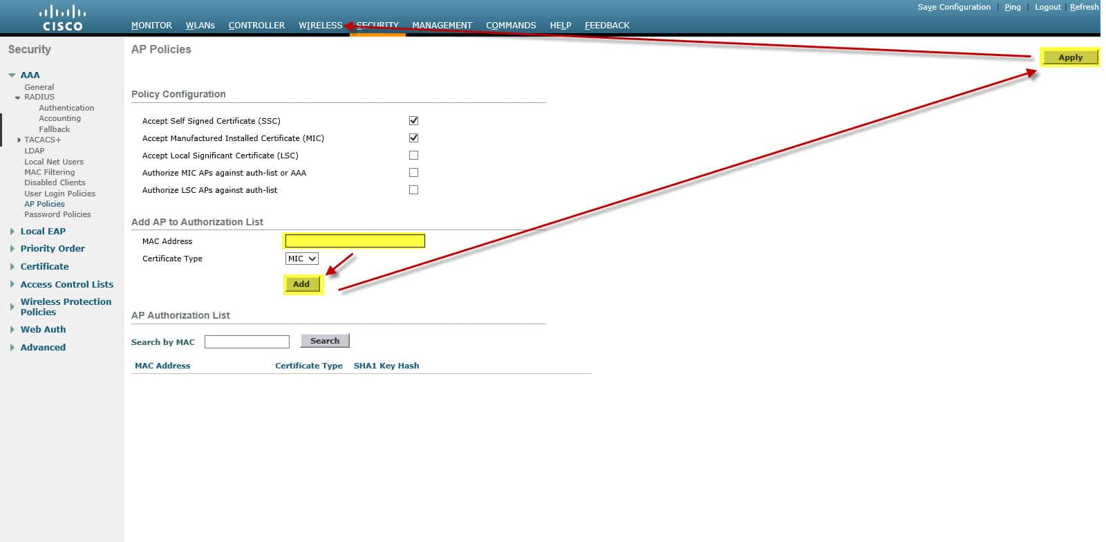 Cisco Wireless LAN Controller Authorization List