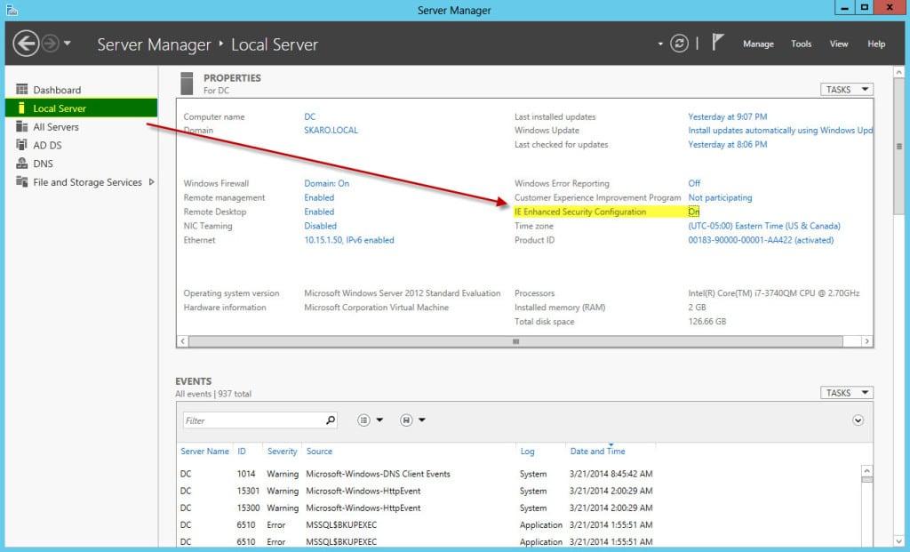 Disabling Internet Explorer Enhanced Security Configuration in Server Manager