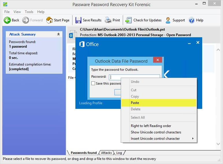 Recover a lost Outlook Data File password