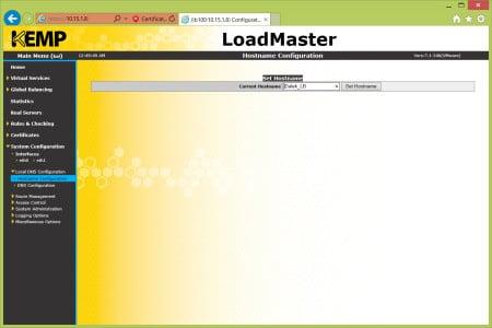 Kemp Load Balancer Hostname