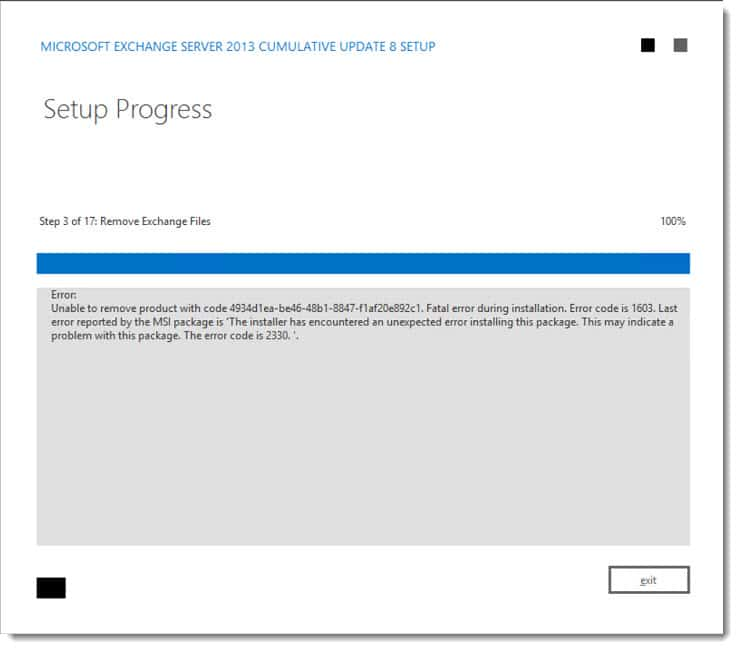 CU Fails: Unable to remove product  Error code is 2330