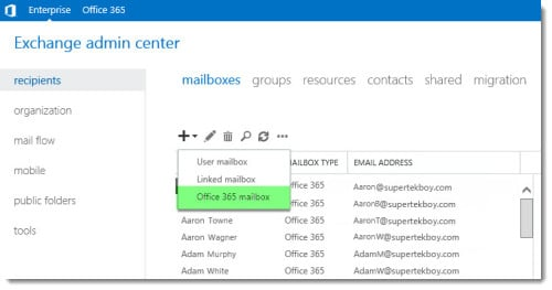 New Office 365 Mailbox link