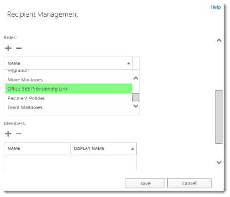 New Office 365 Mailbox link Management Role