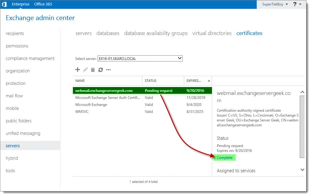 complete a certificate request in exchange 2016