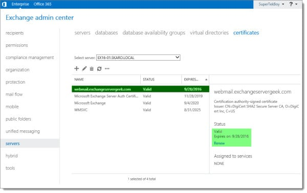 Complete a Certificate Request in Exchange 2016 D