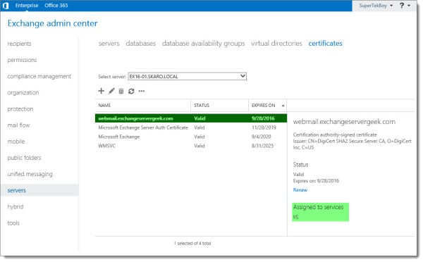 Complete a Certificate Request in Exchange 2016 E