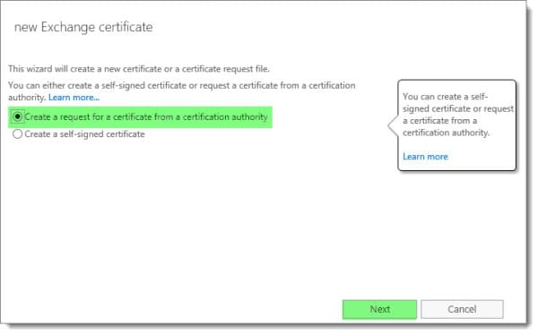Generate a Certificate Request in Exchange 2016 B