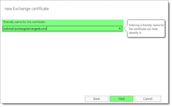 Generate a Certificate Request in Exchange 2016 C