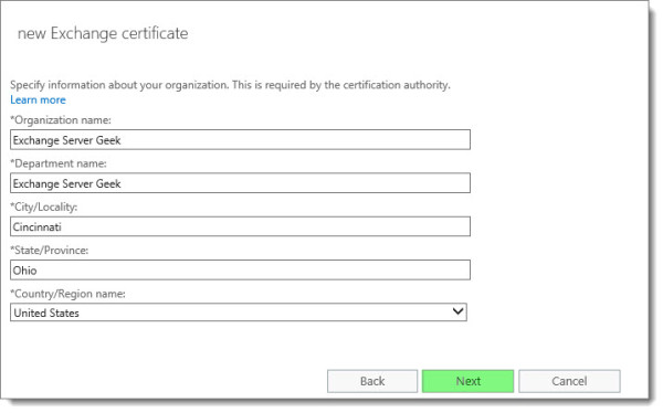 Generate a Certificate Request in Exchange 2016 I