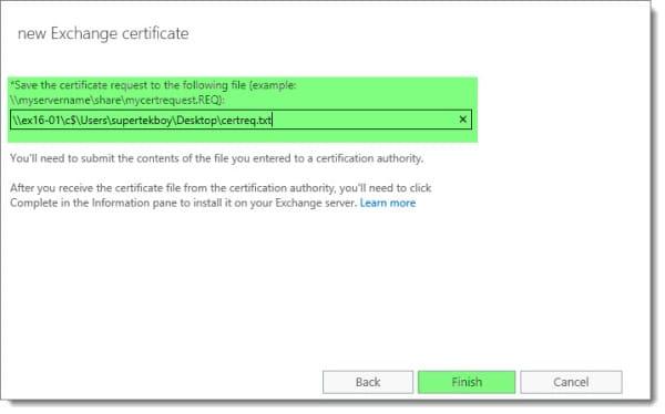 Generate a Certificate Request in Exchange 2016 J