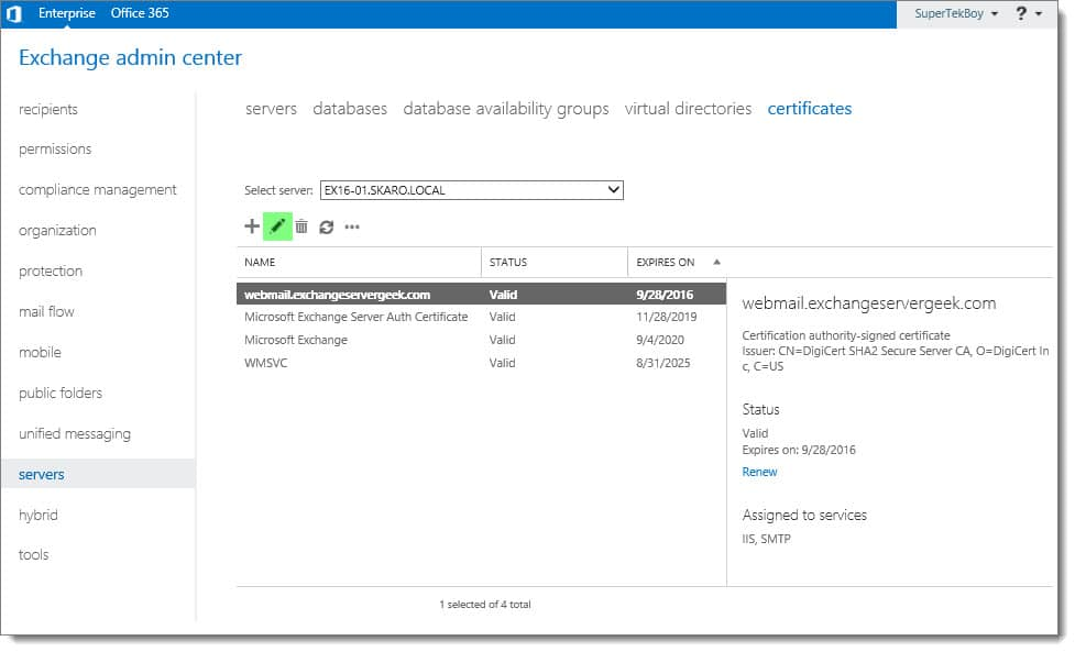 Assign Services To A Certificate In Exchange 2016