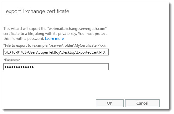 Export Import SSL Certificate Exchange Server 2016 C