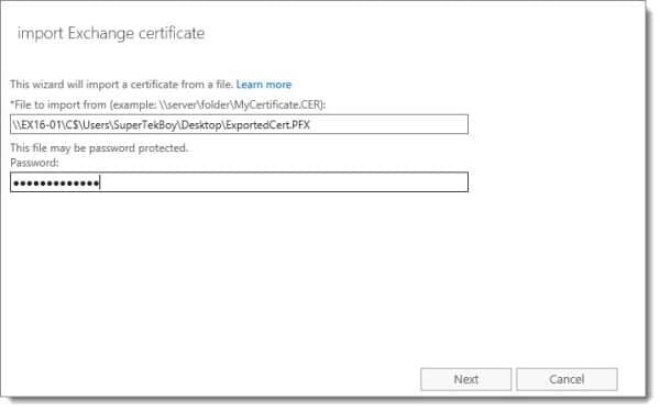 Export Import SSL Certificate Exchange Server 2016 F