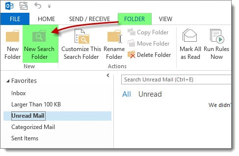 Outlook 2013 New Search Folder