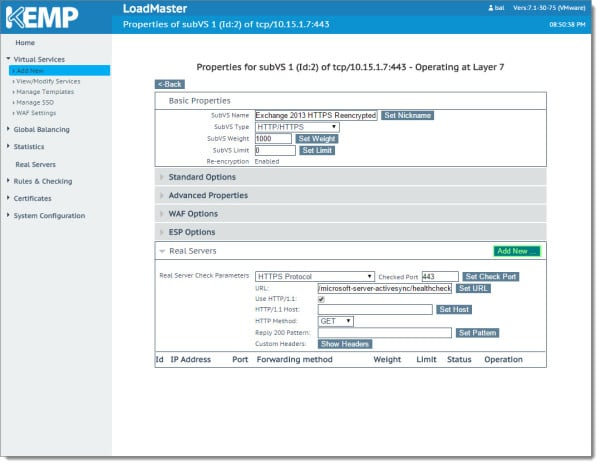 Kemp Virtual Load Balancer Modifying SubVS Exchange 2013 2016 B