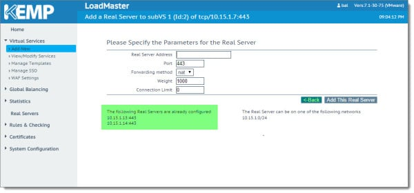 Kemp Virtual Load Balancer Modifying SubVS Exchange 2013 2016 D
