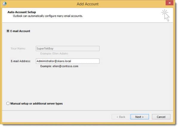 Configure Exchange in Outlook