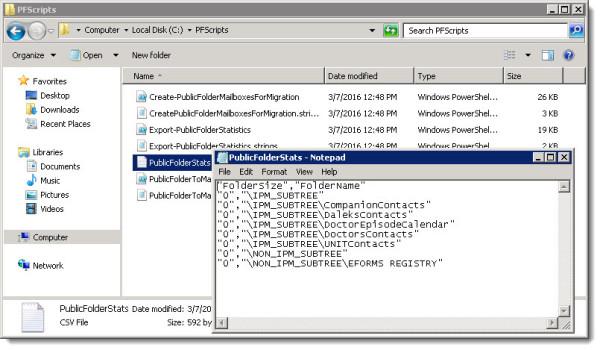 Export-PublicFolderStatistics.ps1 Output CSV