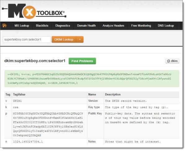 MXToolBox DKIM Test