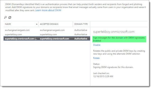 Office 365 Exchange Admin Center DKIM 2