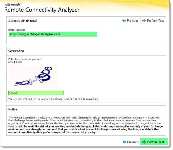 Remote Connectvitiy Analyzer Inbound SMTP Test 2