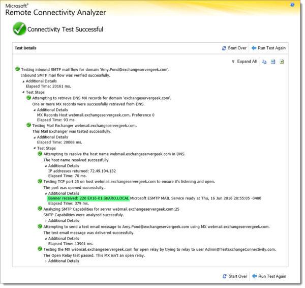 Remote Connectvitiy Analyzer Inbound SMTP Test 3