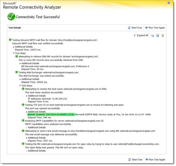 Remote Connectvitiy Analyzer Inbound SMTP Test 4