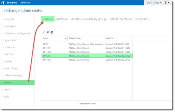 Exchange Admin Center Servers Tab