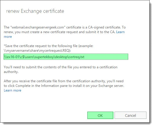 Renew a Certificate in Exchange - SuperTekBoy