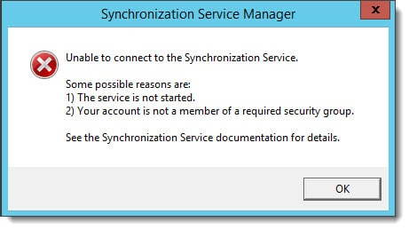 Unable to connect to the Synchronization Service - Azure AD Connect