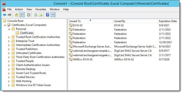 Removing a certificate from the MMC Certificates Snapin