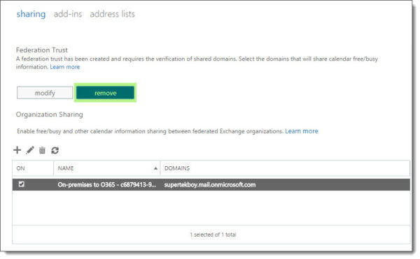 Removing the trust with the Microsoft Federation Gateway