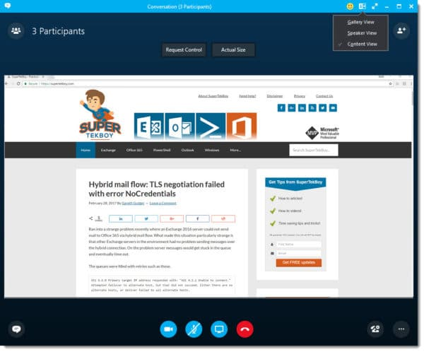 Skype for Business Content View