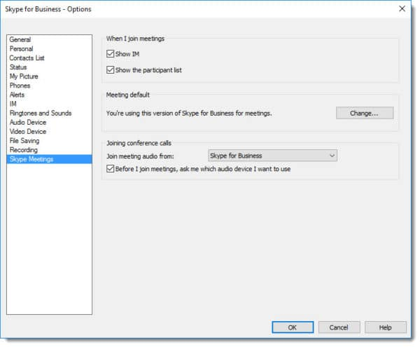 Skype for Business Meeting Defaults