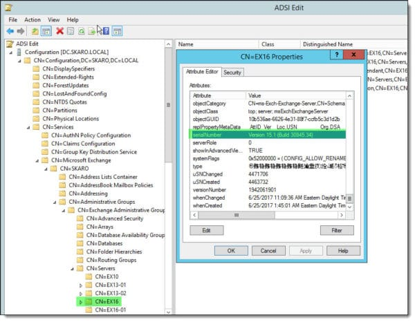 Getting the Exchange build number from ADSI Edit