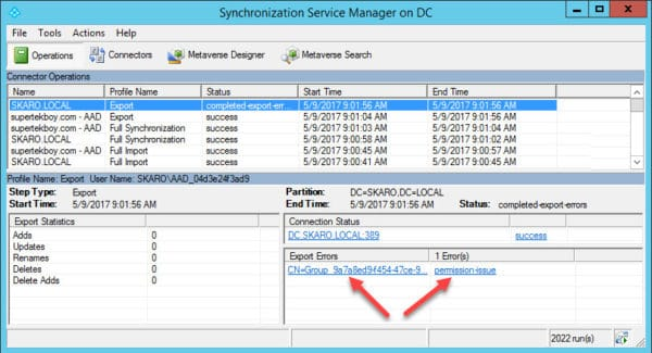 Group Writeback Access is Denied Synchronization Manager
