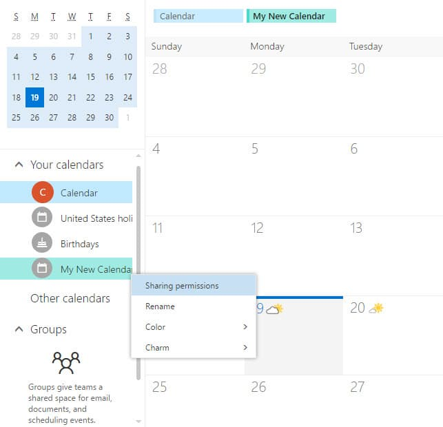 Unable to delete newly created calendar in Outlook on the Web (OWA)