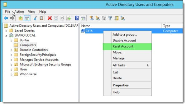 Resetting a computer account in Active Directory
