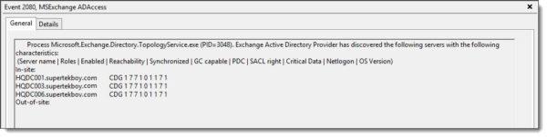 MSExchange ADAccess Event ID 2080