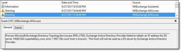 MSExchange ADAccess Event ID 2107