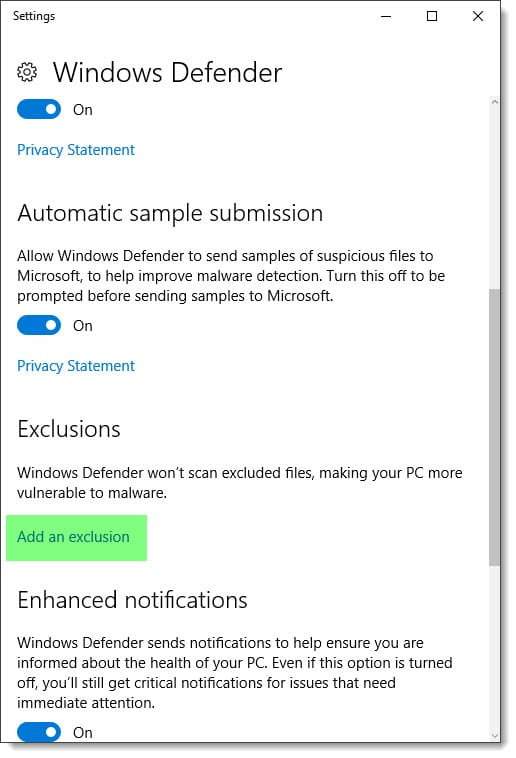 Required Exchange exclusions for Windows Defender Antivirus