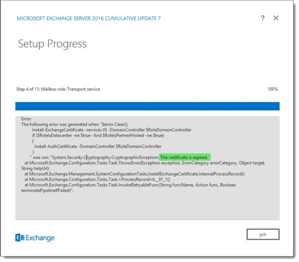 Upgrading Exchange 2016 - The certificate is expired