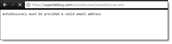 Autodiscovery must be provided a valid email address b