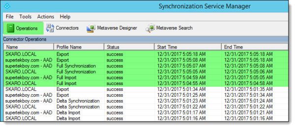 Azure AD Connect - Operations Tab - Full Synchronization