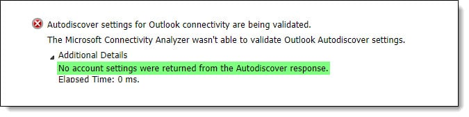 No account settings were returned from the Autodiscover response
