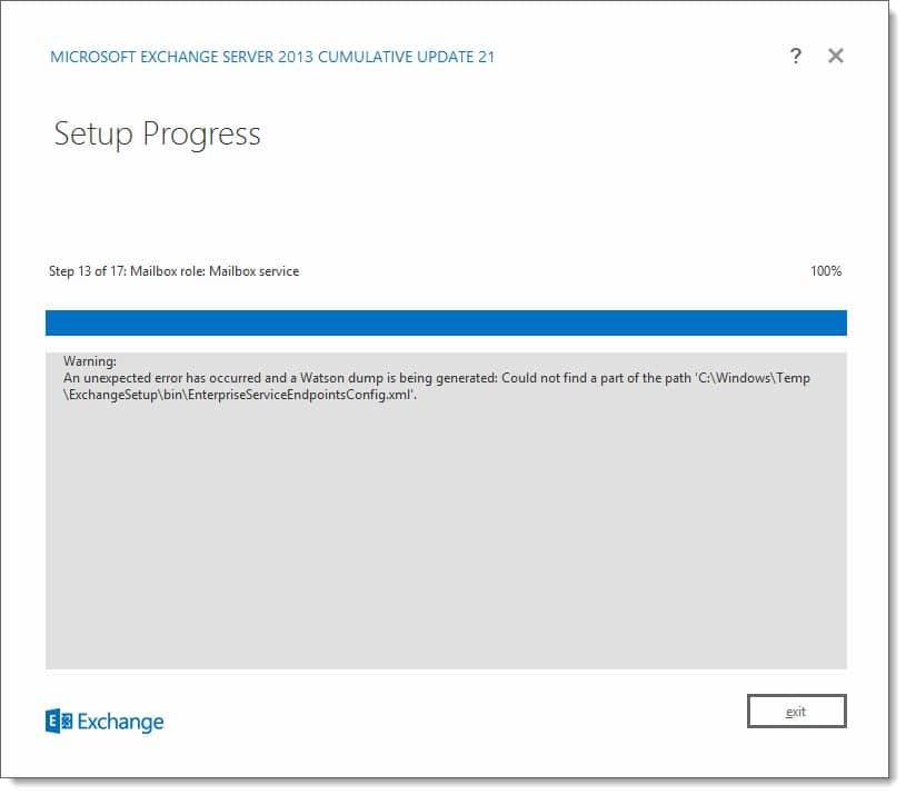 Cumulative Update cannot find EnterpriseServiceEndpointsConfig xml