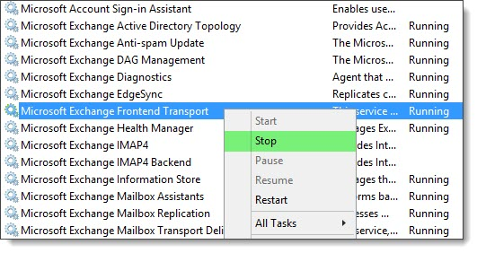 MSExchange POP3 Backend 1018 - The address is already in use. Binding 9995 B